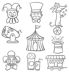 Doodle element object circus carnival vector