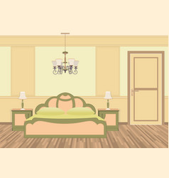 Bedroom interior with furniture in classic style vector