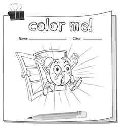A color me worksheet with a clock vector
