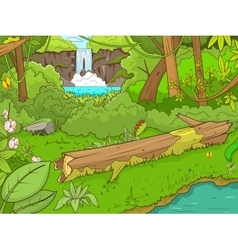 Jungle forest with waterfal cartoon vector