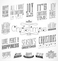 Calligraphic christmas greeting design elements vector