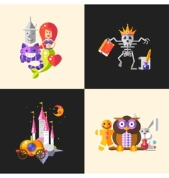 Fairy tales flat design magic cartoon characters vector