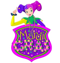 Lady and mardi gras sign vector
