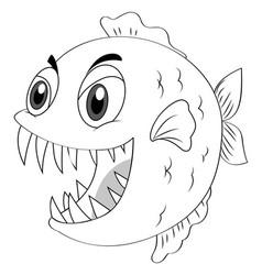 Animal outline for piranha fish vector