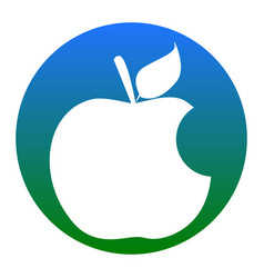bite apple sign white icon in bluish vector image vector image