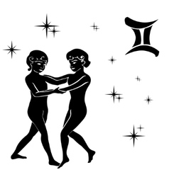 black silhouette of Gemini are on white vector image