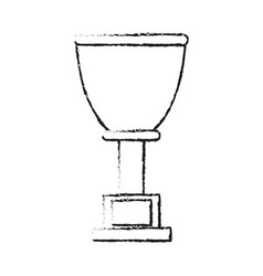 Blurred silhouette cup trophy with plaque vector