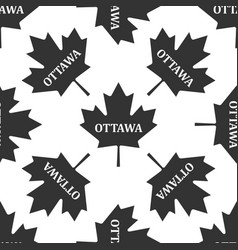 canadian maple leaf with city name ottawa icon vector image vector image