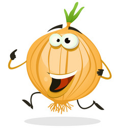 Cartoon happy onion character vector
