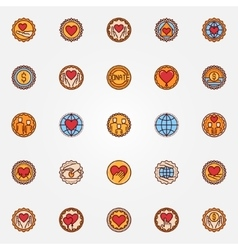 Charity and donation colorful badges vector