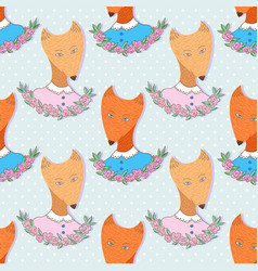 Cute foxes pattern seamless background print for vector