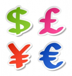 dollar euro yen and pound vector image vector image