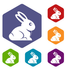 Easter bunny icons set hexagon vector