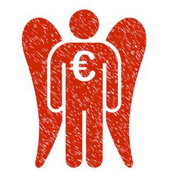 Euro angel investor icon grunge watermark vector