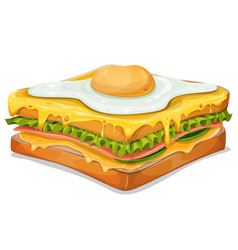 French sandwich with fried egg vector