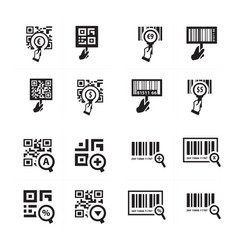 Hand and zoom qr code icon set vector