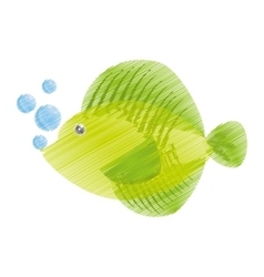 hand drawing tropical fish sea life bubbles vector image