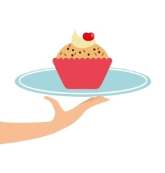 Hand holding a tray of cupcakes vector