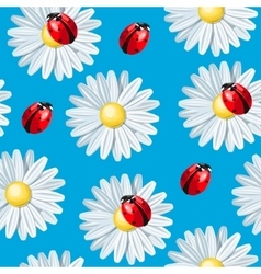 Ladybug and camomile seamless vector