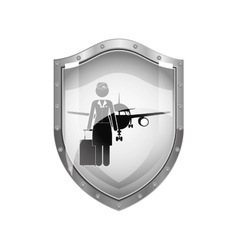 Metallic shield of flight attendant and aeroplane vector