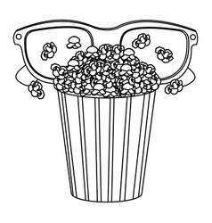 Pop corn with 3d glasses icon vector