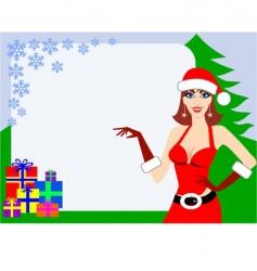 Santa girl and gifts vector image