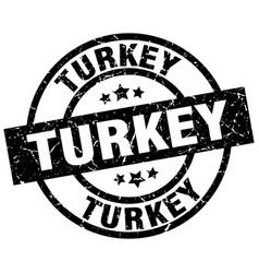 turkey black round grunge stamp vector image vector image