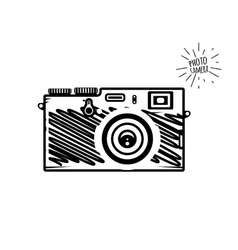 Vintage photo camera doodle style vector image