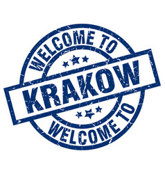 Welcome to krakow blue stamp vector