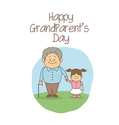 White background with scene grandpa holding hand a vector