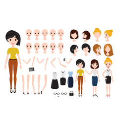 Woman character creation set self-confident vector