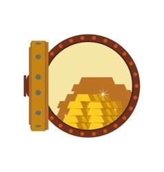 Gold bar block strongbox treasure icon vector