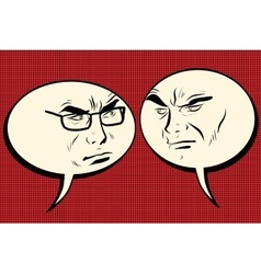 Two angry men talking Comic bubble smiley face vector image