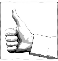 Monochrome thumb up gesture vector