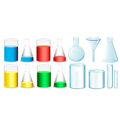 Science equipment with beakers and tubes vector image