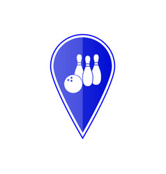 Blue map pointer with bowling skittles vector