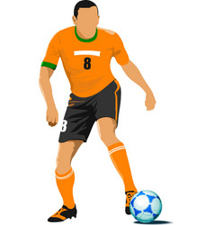 football player waiting out on the field colored vector image