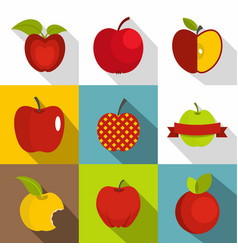 apple sign icons set flat style vector image