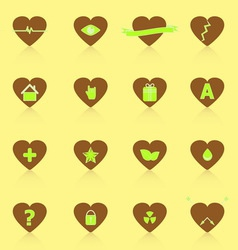 General symbol in heart shape icons with reflect vector