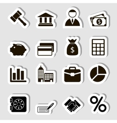 Business Icons Set as Labes vector image