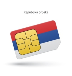 Republika srpska mobile phone sim card with flag vector