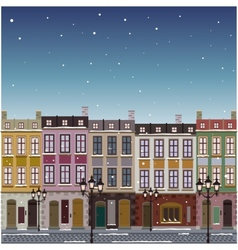 Old street town christmas background vector