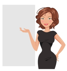 Beautiful business woman is about banner vector