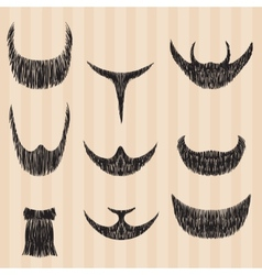 Mens retro collection of hair styling beard vector