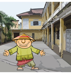 Cartoon vietnamese man in ragged clothes and a hat vector