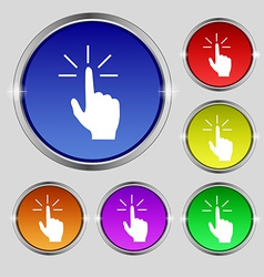Click here hand icon sign round symbol on bright vector