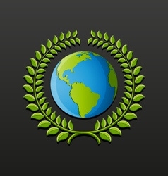 Eco symbol with earth and wreath of leaves vector image