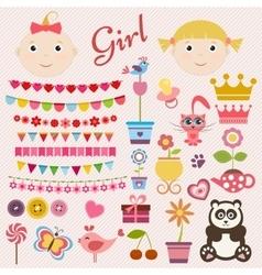 Scrapbook girl set vector image