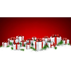 Christmas red background with gift boxes vector image