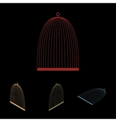 Bird cage icon set vector